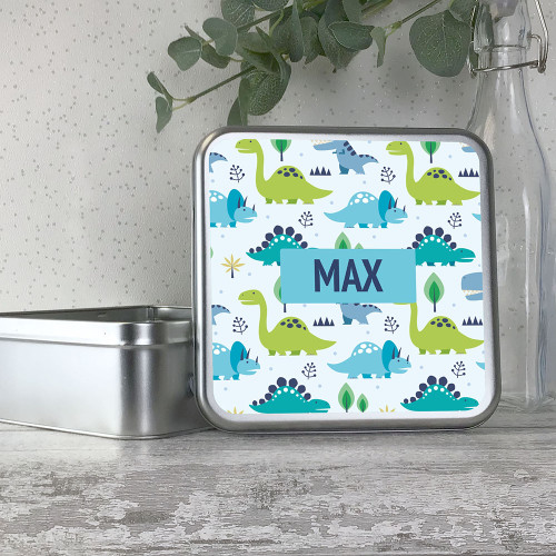 Kids dinosaur personalised metal storage tin box gift idea