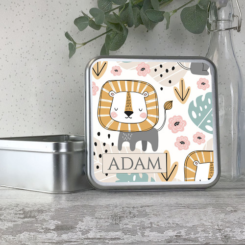 Brave lion themed kids personalised metal tin storage box gift idea