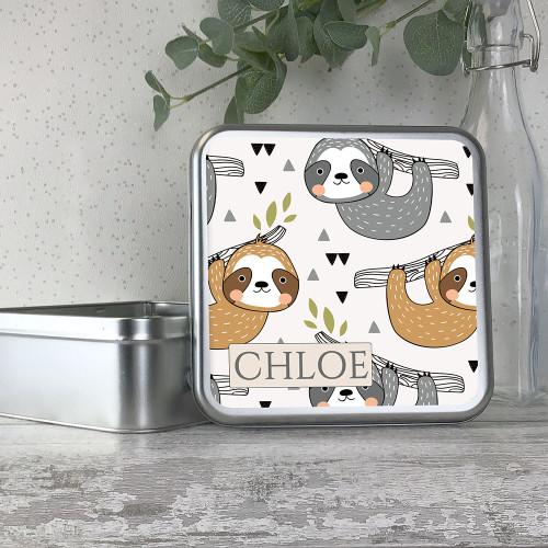 Sloth themed metal storage tin gift idea