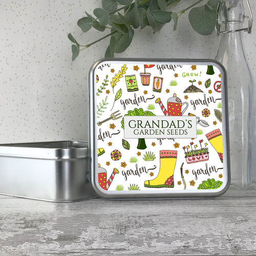 Gardener, gardening themed personalised metal storage seed tin box