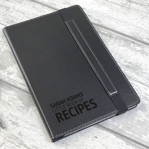 Little book of recipes, personalised engraved writing notebook gift idea for a cook