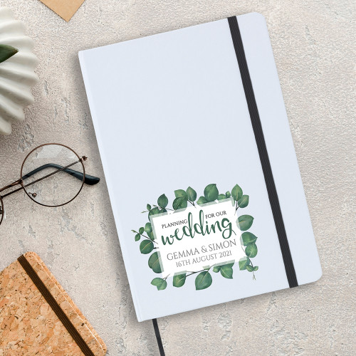 White A5 personalised wedding planning notebook, leaf design.