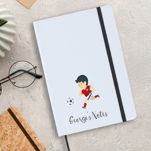 Personalised football design A5 notebook.