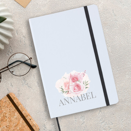 Personalised A5 flower notebook, which includes lined writing paper, the perfect gift for her.