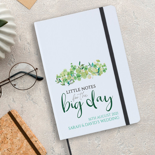 Little notes for the big day notebook,white  A5 sized,  includes lined writing paper