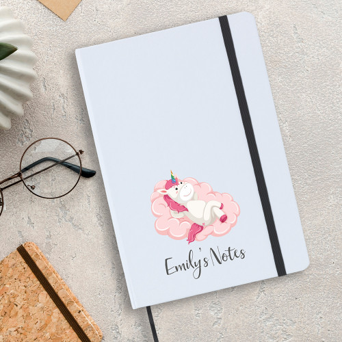 Personalised A5 unicorn design notebook, includes lines writing paper.