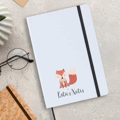 Personalised A5 fox design notebook, includes lines writing paper.