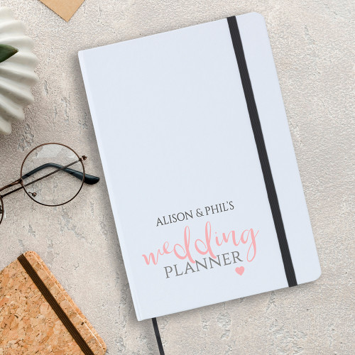 White wedding planner notebook, personalised front cover.