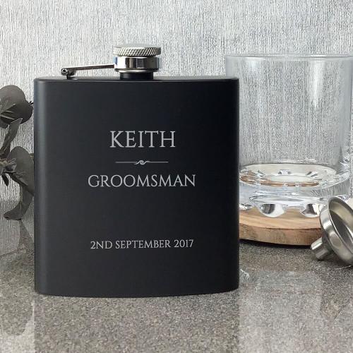Groomsman matt black personalised hip flask wedding gift, engraved
