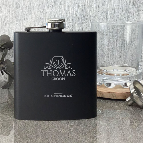 Laser engraved groom wedding hip flask gift, matt black