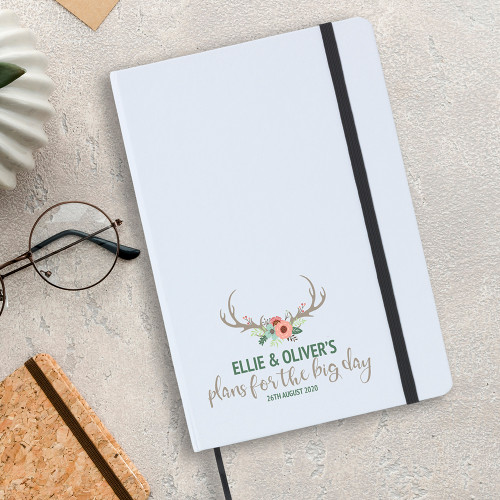 Boho themed wedding planner note book gift, A5 sized.