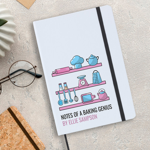 Baking genius notebook, personalised cover and includes lined writing paper.