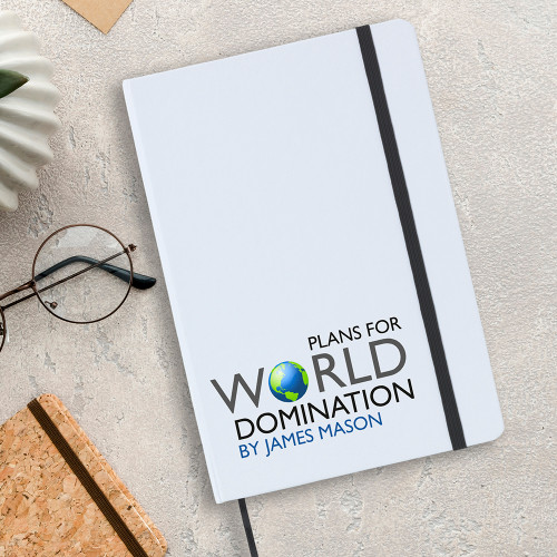 World domination A5 notebook with lined writing paper.