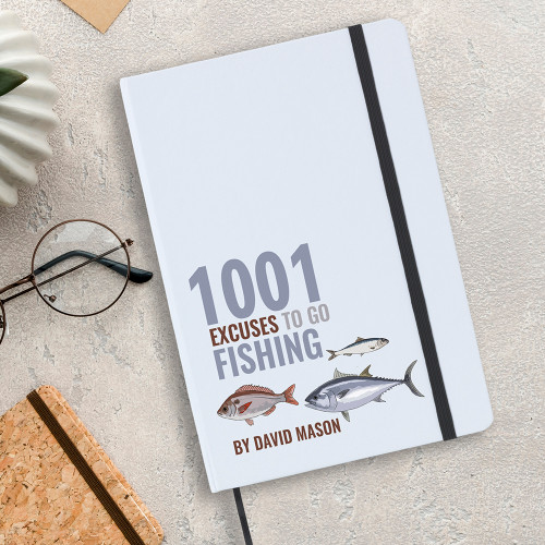 1001 excuses to go fishing notebook, A5 size with lined writing paper inside