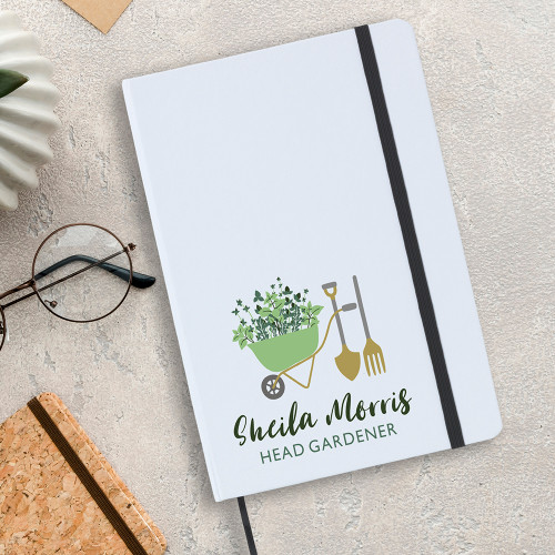 Head gardener notebook, A5 size with lined writing paper inside.