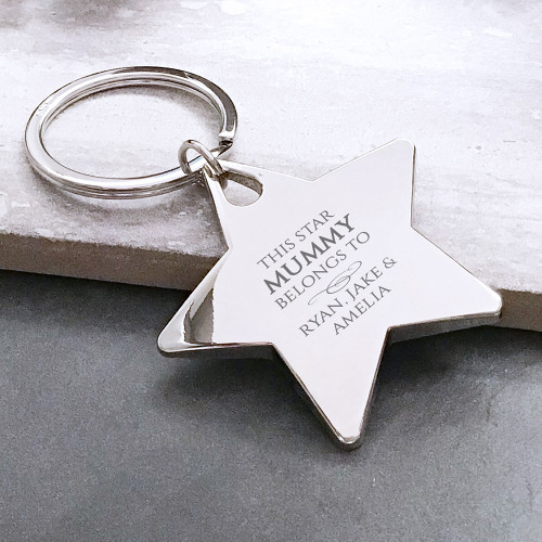 Personalised engraved chunky silver metal star keyring 'This mummy belongs to...'