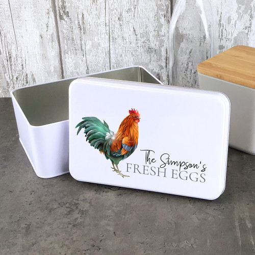 White rectangle 'fresh eggs' tin. Personalised lid and the perfect kitchen size.