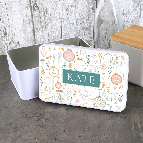 Personalised storage tin with a  sewing and flower design.