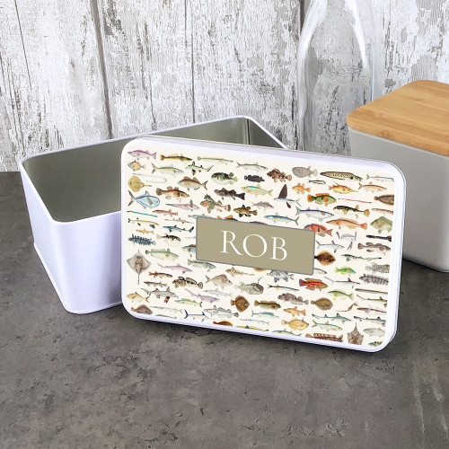 Personalised fish design storage tin, a great personalised gift.