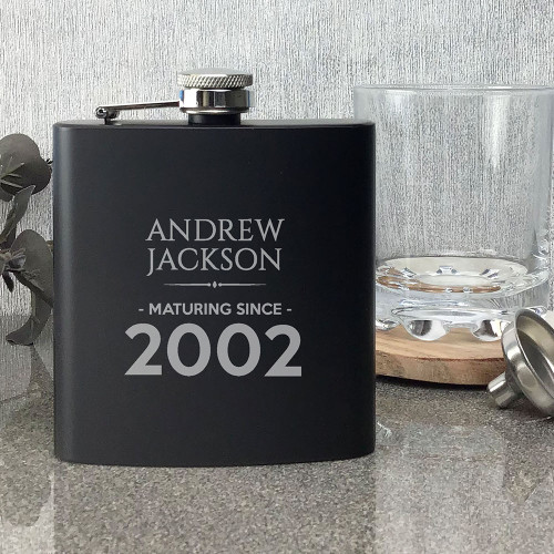 Laser engraved personalised birthay hip flask gift idea, matt black