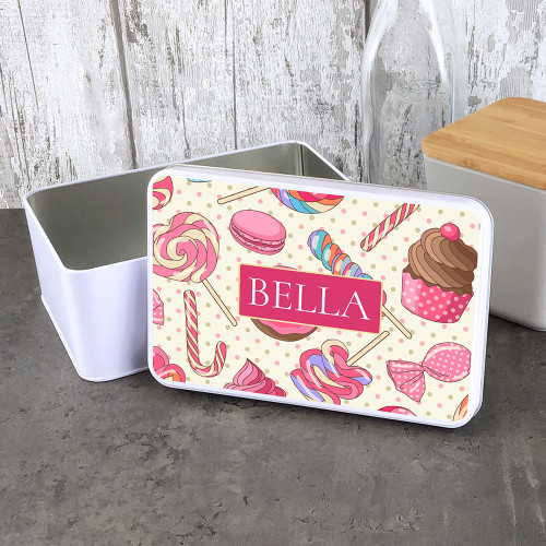 Personalised storage tin with a sweet treat design.
