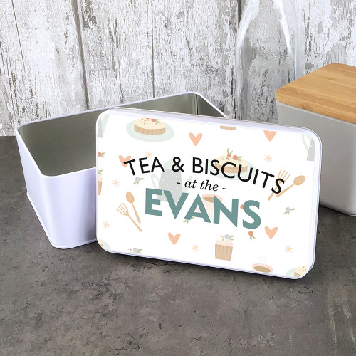 Tea and biscuits design, personalised storage tin. A perfect gift.