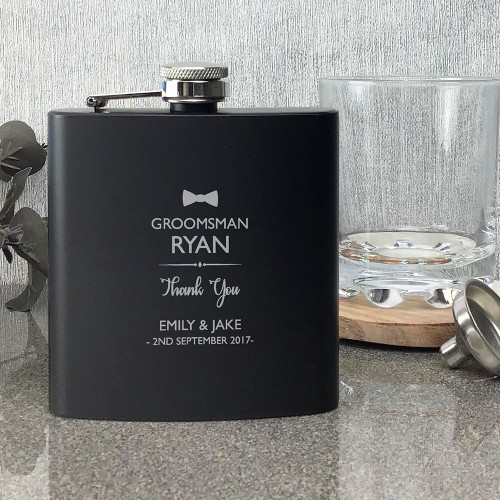 Personalised groomsman black wedding hip flask gift, laser engraved