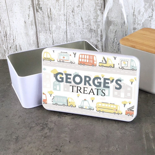 Car design personalised treat tin. Children's gift.