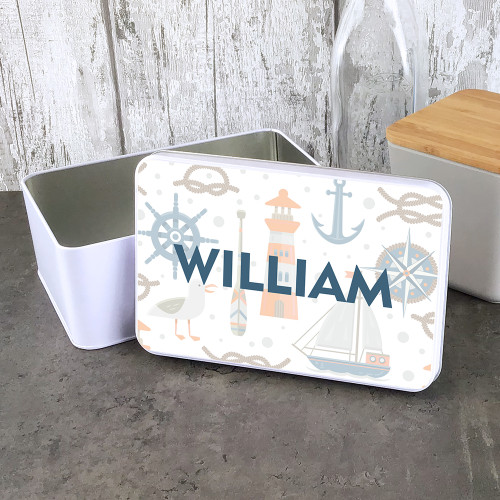 Lighthouse design personalised storage tin.