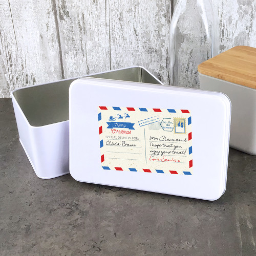 Christmas post card design storage tin. Personalised gift.