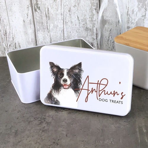Border Collie dog treat tin. Personalised gift.