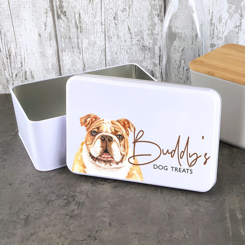 Bulldog design personalised dog treat storage tin.