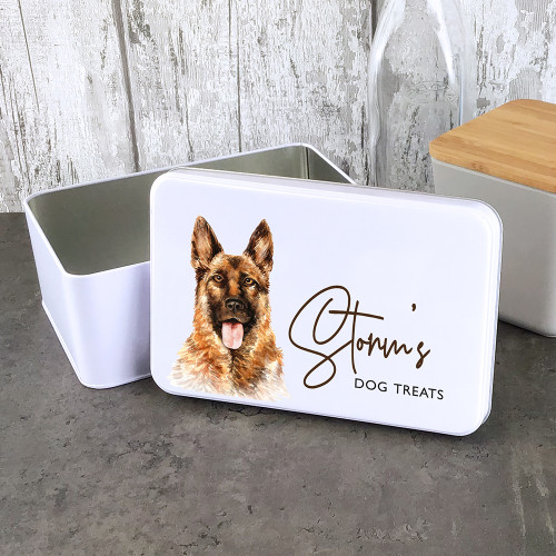 Alsatian dog treat storage tin, personalised gift.
