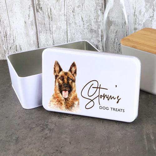 Alsatian dog treat storage tin, personalised gift.