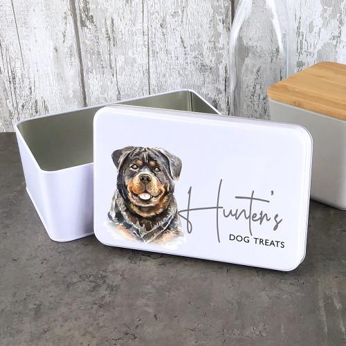 Rottweiler design dog treat storage tin, personalised gift.