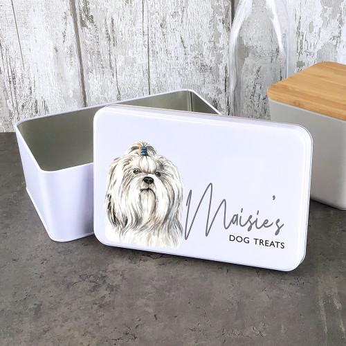 Shih Tzu design dog treat storage tin.