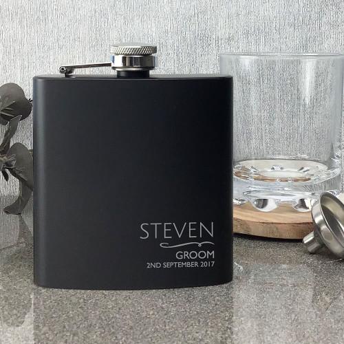 Personlised laser engraved groom hip flask wedding gift idea