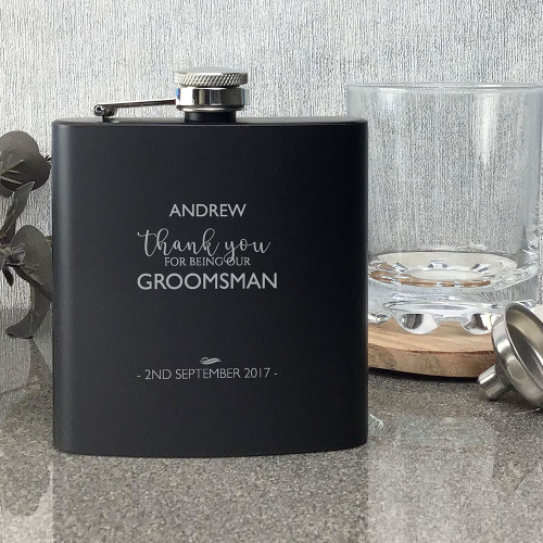 Groomsman personalised wedding gift, matt black engraved hip flask