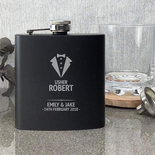 Laser engraved usher black hip flask wedding gift, tuxedo