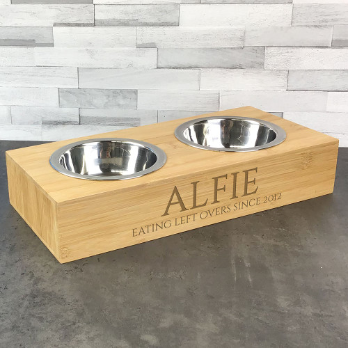Eating leftovers themed double pet bowl, engraved pet lovers gift idea