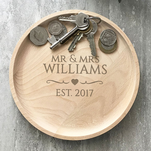 Laser engraved wooden valet tray - perfect couples gift for a 5th wood wedding anniversary.