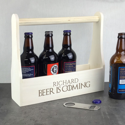 Beer is Coming! Personalised laser engraved wooden beer bottle carrier caddy beer lover gift idea.