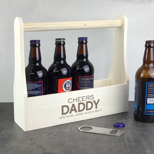 Laser engraved beer bottle wooden carrier caddy gift idea for a dad or daddy.