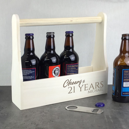 Birthday cheers for a special birthday, laser engraved wooden beer bottle caddy carrier, personalised with a name and birthday age.