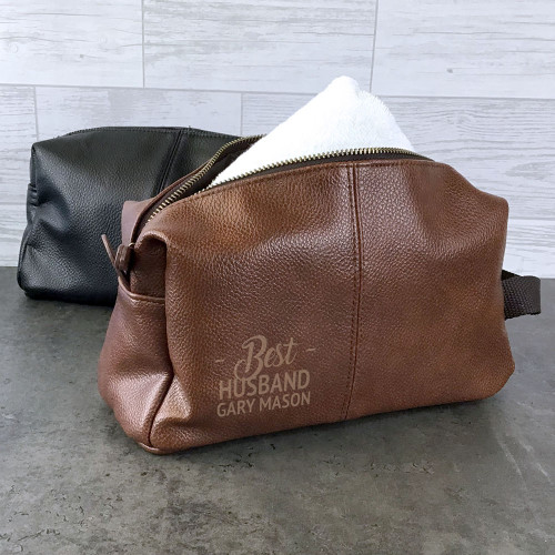 Best husband wash bag gift idea. Personalised laser engraved vegan faux leather toiletry bag
