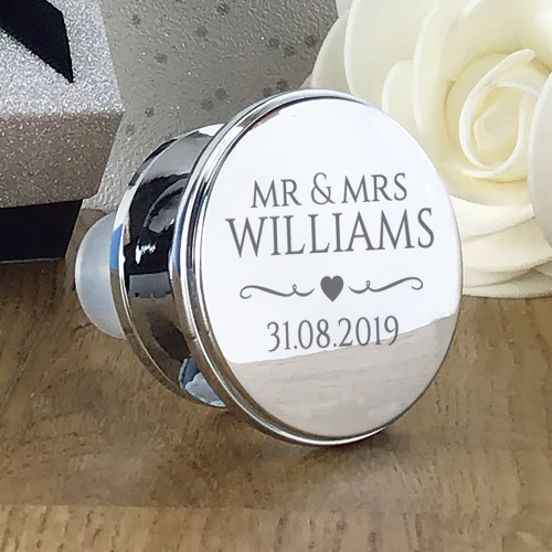 Engraved personalised wine bottle stopper. Couples names and wedding date. Perfect wedding or anniversary gift.