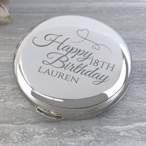 Personalised engraved Happy 18th Birthday silver plated compact mirror gift idea for a friend or relative
