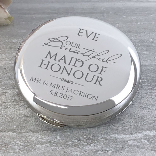 Our beautiful Maid of honour round compact mirror.