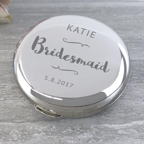 Bridesmaid, compact round mirror.