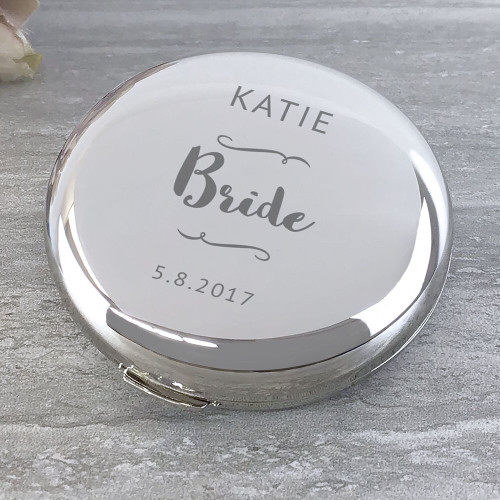 Engraved silver plated compact mirror wedding day gift for the bride